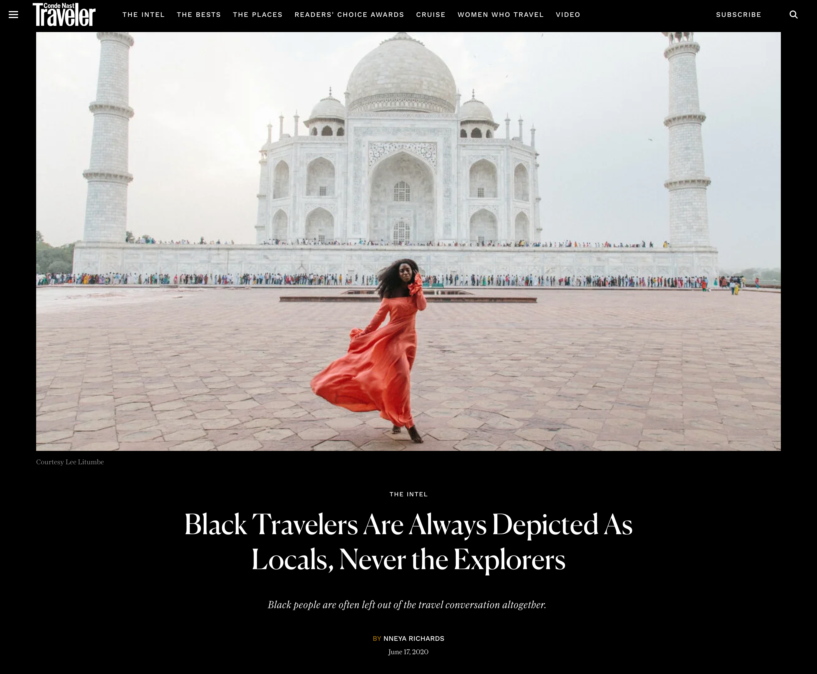 Cover of Conde NAst Traveler home page in front of the Taj Mahal