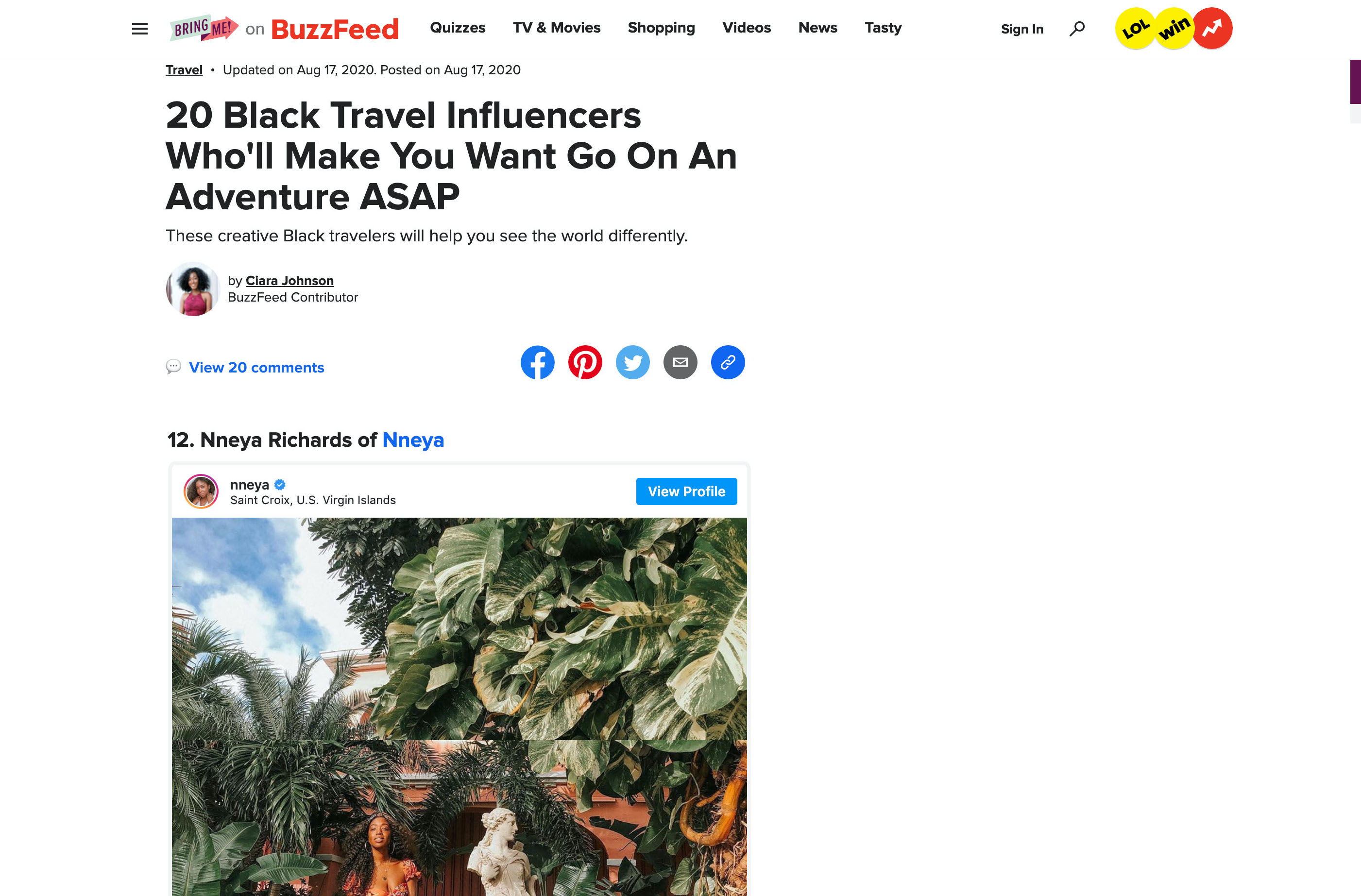landscape image of buzzfeed article with me as 20 black travel influencers